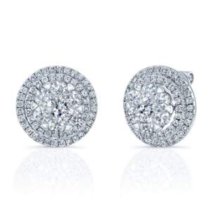 Diamond Cluster Shield Earrings In 14k White Gold