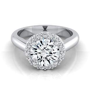 9/10ctw Round Diamond Classic Halo Engagement Ring In