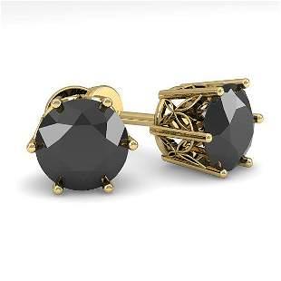 3.0 ctw Black Diamond Stud Art Deco Earring 14k Yellow