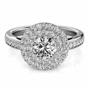 0.85 ctw Certified VS/SI Diamond Halo Ring 14k White