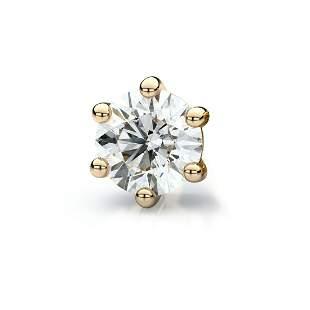 14k Yellow Gold 6-prong Round Diamond Single Stud
