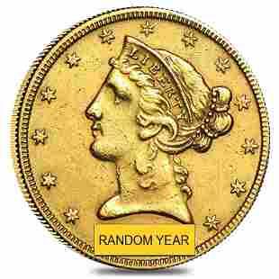 $5 Gold Half Eagle Liberty Head - Very Fine VF (Random