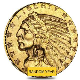 $5 Gold Half Eagle Indian Head - Almost Uncirculated AU