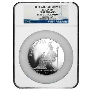 2013 Great Britain 5 oz Silver Britannia Proof Coin NGC