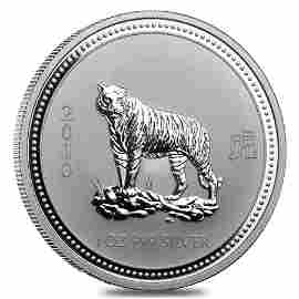 2010 1 oz Silver Lunar Year of The Tiger BU Australian