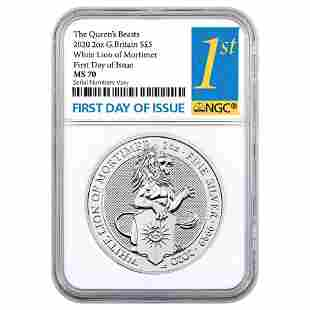 2020 Great Britain 2 oz Silver Queen's Beasts White