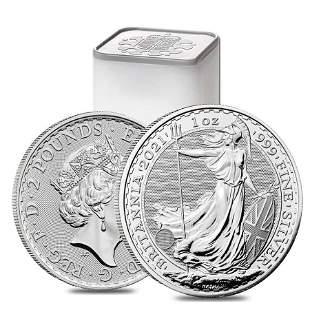 Roll of 25 - 2021 Great Britain 1 oz Silver Britannia
