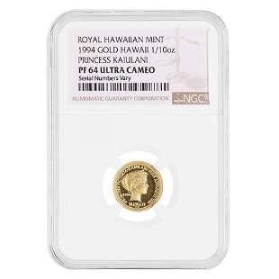 1994 1/10 oz Gold Hawaiian Victoria Kaiulani Hapaumi