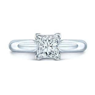 Princess Cut Solitaire Engagement Ring In Platinum
