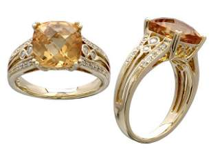 Citrine Cushion Checkerboard And Diamond Ring In 14k
