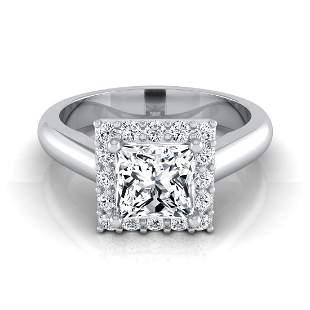 1 1/5ctw Princess Cut Diamond Classic Halo Engagement