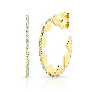 Diamond Pave Open Hoop Earring With Arabesque Star