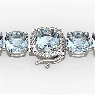 35 ctw Sky Blue Topaz & Micro Diamond Bracelet 14k