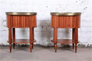 Baker Furniture French Regency Cherry and Brass Tambour