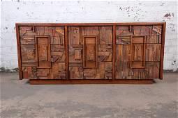 Lane Pueblo Brutalist MidCentury Modern Oak Long