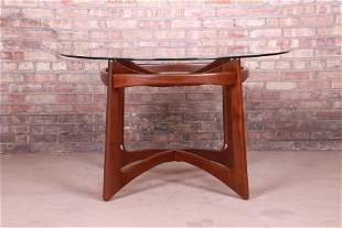 Adrian Pearsall Sculpted Walnut Glass Top Dining Table