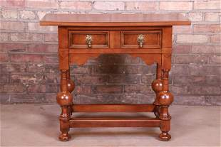 Baker Furniture Jacobean Walnut Side Table or Entry