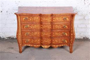 Italian Inlaid Marquetry Mahogany Four-Drawer Chest of
