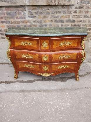 Antique French Louis XV Style Inlaid Bombe Chest