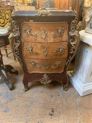 Antique French Louis XV Style Inlaid Ornate Burled