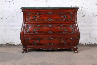 French Louis XV Style Mahogany Marble Top Bombay Chest