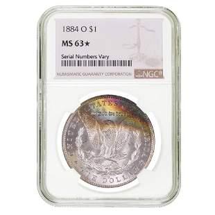 1884 O Morgan Silver Dollar NGC MS 63*