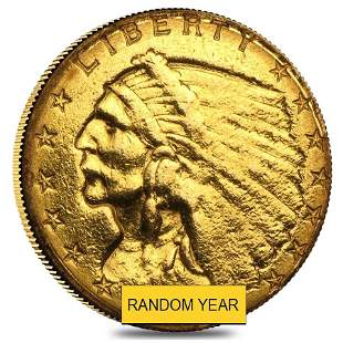 $2.5 Gold Quarter Eagle Indian Head - Ex Jewelry