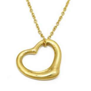 Authentic TIFFANY & Co. Open Heart Necklace 18k Gold