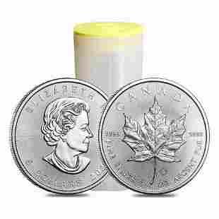 Roll of 25 - 2021 1 oz Canadian Silver Maple Leaf .9999