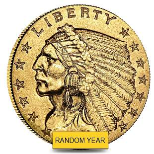 $2.5 Gold Quarter Eagle Indian Head - Extra Fine XF