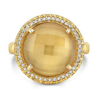 14kt Yellow Gold Citrine Mop Doublet & Yellow Sapphre