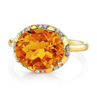 Citrine Checkerboard Oval And Diamond Ring In 14k