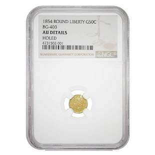 1854 Gold California Fractional Liberty Round 50 Cents