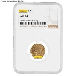 $2.5 Gold Quarter Eagle Indian Head NGC MS 62 (Random