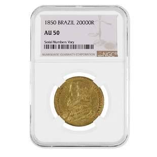 1850 Brazil Pedro II 20 000 Reis Gold Coin NGC AU 50