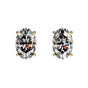 1 ctw Certified VS/SI Quality Oval Diamond Stud Earring
