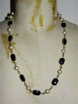 Authentic Miriam Haskell Faux Pearl And Gripoix Black