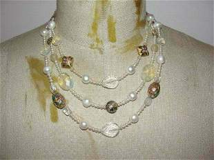 Authentic Miriam Haskell Brass Triple Strand Pearl