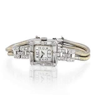 1920's Platinum Art Deco 5.86cts Diamond Watch