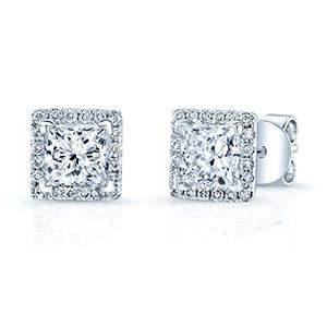 Diamond Princess Cut Halo Stud Earrings In 14k White