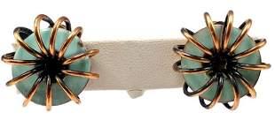 Authentic Matisse Copper Enamel Coil Disc Earrings