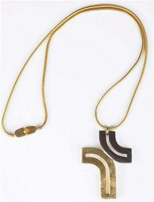 Authentic Pierre Cardin Two Tone Cross Pendant Necklace