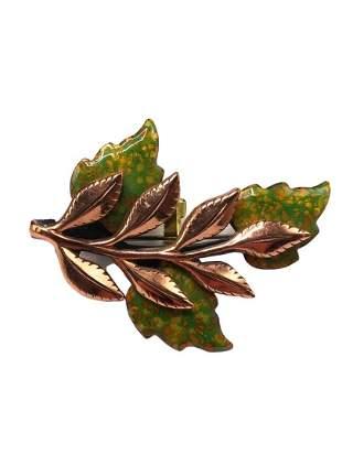 Authentic Matisse Copper Enamel Leaf Pin