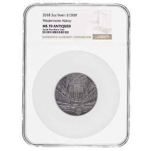 2018 Benin 3 oz Silver Westminster Abbey Antiqued Coin