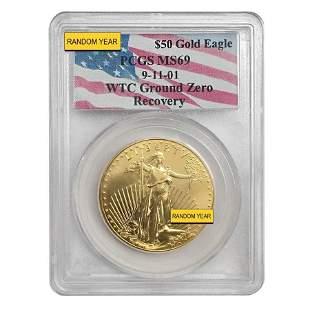 1 oz $50 Gold American Eagle PCGS MS 69 (9-11-01 WTC