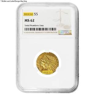 $5 Indian Head Half Eagle Gold Coin NGC MS 62 (Random