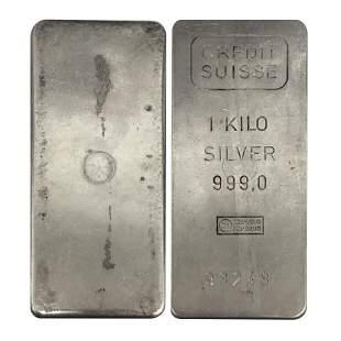 1 Kilo Credit Suisse Silver Vintage Bar .999 Fine