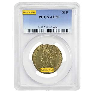 $10 Liberty Head Gold Eagle PCGS AU 50 (Random Year)