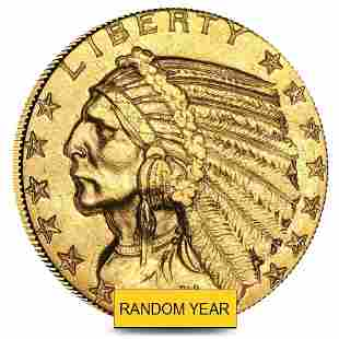 $5 Gold Half Eagle Indian Head - Polished or Cleaned