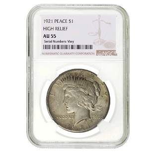 1921 Peace Silver Dollar $1 High Relief NGC AU 55